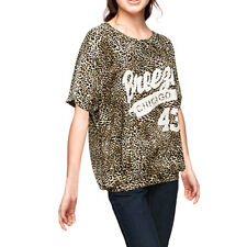 Lady Leopard Printed Dolman Sleeve Casual Top Blouse