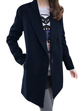 Lady Peaked Lapel Long Sleeve Button Closure Worsted Blazer