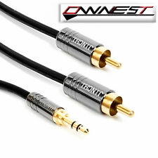 3.5mm Plug Jack to 2 RCA twin Male Stereo Phono Audio Cable Lead PC Gold OFC