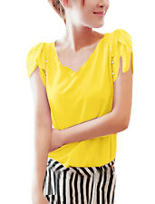 Ladies V Neck Puff Sleeve Beads Detail Casual Blouse