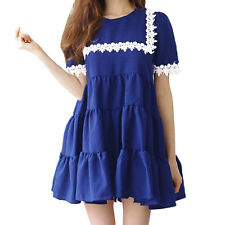 Woman Short Sleeves Crochet Design Tiered Tunic Dress