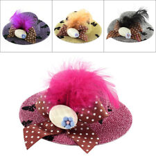 Lady Mini Bowknot Feather Flower Detail Glittery Tinsel Coated Top Hat Hairclip