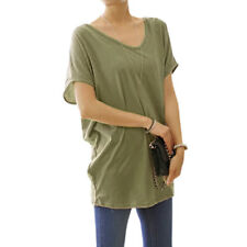 Woman Crochet Design Back Scoop Neck Short Sleeves Tunic Top