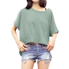 Women Round Neck Batwing Sleeves High Low Hem Loose Top