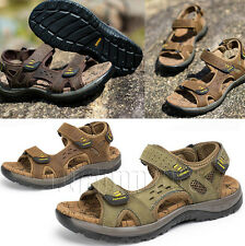Mens Open Toe Sport Fisherman Leather Sandals Casual Shoes Outdoor Beach Sandals