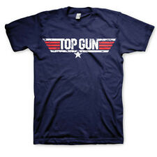 TOP GUN Distressed Logo Movie Mens T-Shirt 80s Retro Tee Official Novelty