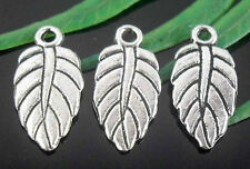 Free Ship 125Pcs Tibetan Silver Leaves Pendants 19x9mm