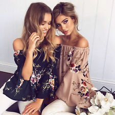 Fashion Women Summer Loose Casual Off Shoulder Shirt Tops Blouse Ladies Top
