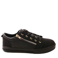 Ladies Black Faux Leather Zip Trainers Girls Lace Up Flat Fashion Boots UK 4