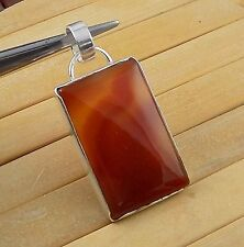 Natural Red Onyx 25x40mm Rectangle Cabochon Gemstone 925 Sterling Silver Pendant