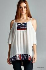 JODIFL Womens Boho Chic Cold Shoulder Tribal Print Peasant Tunic Tank Top S M L