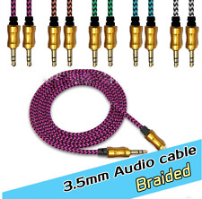 3.5mm Aux Braided Male to Male Stereo Jack Cable For iPhone,iPod,iPad,MP3 playr