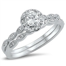 Sterling Silver 925 Halo Vintage Style Engagement Ring Band Wedding Set Sz 5-10