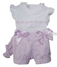 Girls Spanish Style 3 Piece Lilac/White Satin Bow Set 0-24 Months 2-3 3-4 Years