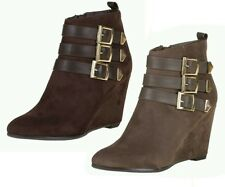 LADIES SUEDE STYLE MID HIGH WEDGE HEEL ANKLE BOOTIES ZIP UP BOOTS SHOES SIZE 3-8