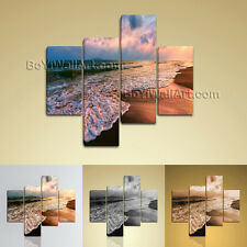 Large Seascape Hd Print Sea Wave Wall Painting Living Room Four Pieces Canvas