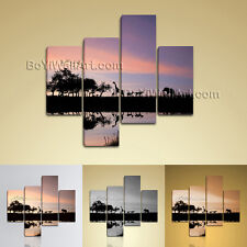 Large Africa Sunset Wall Art Contemporary Painting Living Room Four Panels print