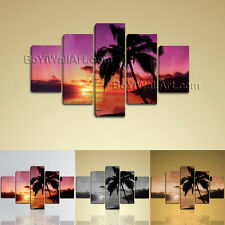 Large Wall Art Print On Canvas Contemporary Seascape Sunset Palm Tree Landscape