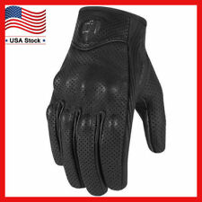 Leather Motorcycle Gloves Non-Perforated Pursuit Street Stealth Black M/L/XL NEW