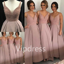 Spaghetti Beading V-neck Bridesmaid Dresses Pleats Formal Party Prom Gown Custom