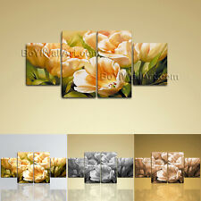 Large Floral Canvas Art Tulip Flower Abstract Dining Room 4 Panels Print