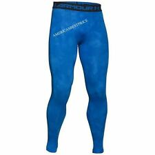 UNDER ARMOUR NEW MENS COMPRESSION TRAINING TIGHTS FIT PANTS PRINTED NWT BLUE