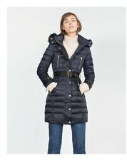 Zara Long Quilted Coat with Detachable Hood Size  XL New with Tags!