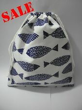 Cotton Linen Drawstring Small Bag Storage Travel Packaging Pouch-Blue Fish