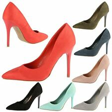 Clarissa Womens High Stiletto Heel Ladies Pointed Toe Court Shoes Pumps Size New