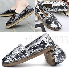New Womens Espadrilles Sequins Canvas Slip-On Flats Casual Pumps Loafer Shoes