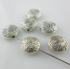 28/250pcs Tibetan Silver 10mm Charms Flat Round Leaves Spacer Beads DIY Jewelry
