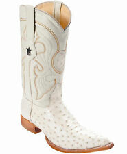 Los Altos Genuine WINTER WHITE Ostrich 3X Toe Boots Handmade Western Cowboy EE