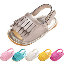 Newborn Baby Girl Crib Shoes Leather Tassel Soft Sole Sandals Non-slip Prewalker