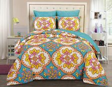 Moroccan Blue Gardenia 6pc Reversible Comforter Set Full Queen King Bed In a Bag