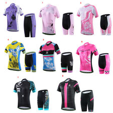 Womens Cycling Jersey Short Sets Short Sleeve Bicycle Jersey Padded Shorts Suit