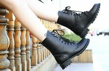 Martin Short Boots Punk Military Army Knight Lace-up Shoes PU Leather Black HOT