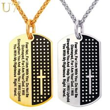 U7 Dog Tag Cross Necklace & Pendant Gold Color 316L Stainless Steel Chain Black