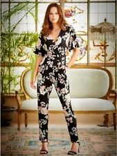 NEW SIZE 10 - 20 M&CO JUMPSUIT BLACK PINK IVORY GREEN FLORAL PARTY STRETCH