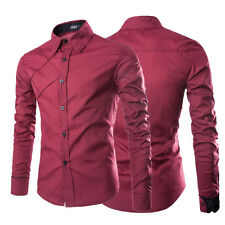 Mens Luxury Stylish Casual Dress Slim Fit T-Shirts Casual Long Sleeve Red Shirt