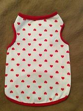 Dog Clothes S Thru XL Valentine Day Pullover White Red Hearts Male Female New