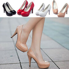 Woman Patent leather Round Toe Stiletto High Heel Platform Pump Wedge Shoes Sz