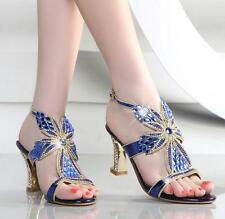 Womens Rhinestones Sling back Chunky Heels Evening Sandals Party Bridal Shoes