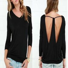 Casual Women Tops Blouse Cotton Bottom Blouse Shirt Backless Sexy Long Sleeve