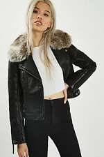 TOPSHOP *Black Faux Leather Biker Jacket* SIZE_UK6_8_10_12_14_16