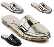 NEW WOMENS LADIES LOAFER FLAT OFFICE WORK GOLD METAL SLIDER SLIP ON SHOES SIZE