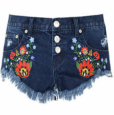 Womens Dark Blue Embroidered Denim Shorts Frayed Distressed Hot Pants Ripped