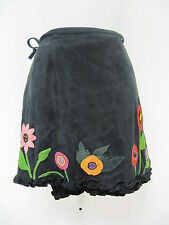 Grownbeans by Karen Groner Black Suede Wrap Skirt w/ Flowers Ruffle