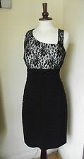 Womens SCARLETT NITE Black Lace Formal Dress Sz 16 UK