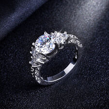 White Sapphire Jewelry Women's 10kt White Gold Filled Engagement Ring Size 6-10
