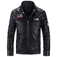 Men's Fashion Motorcycle PU Leather Jacket Slim Fit Stand Collar Coat